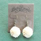 Lucky Brand Bronze Tone Dangle White Love Carved Flower Earrings