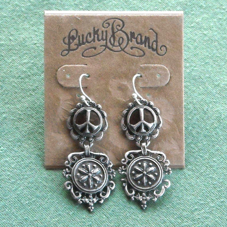 Lucky Brand Silver Tone Retro Dangle Classic Peace Earrings