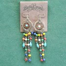 Lucky Brand Brass Tone Retro Dangle Flower Beads Tassel Earrings