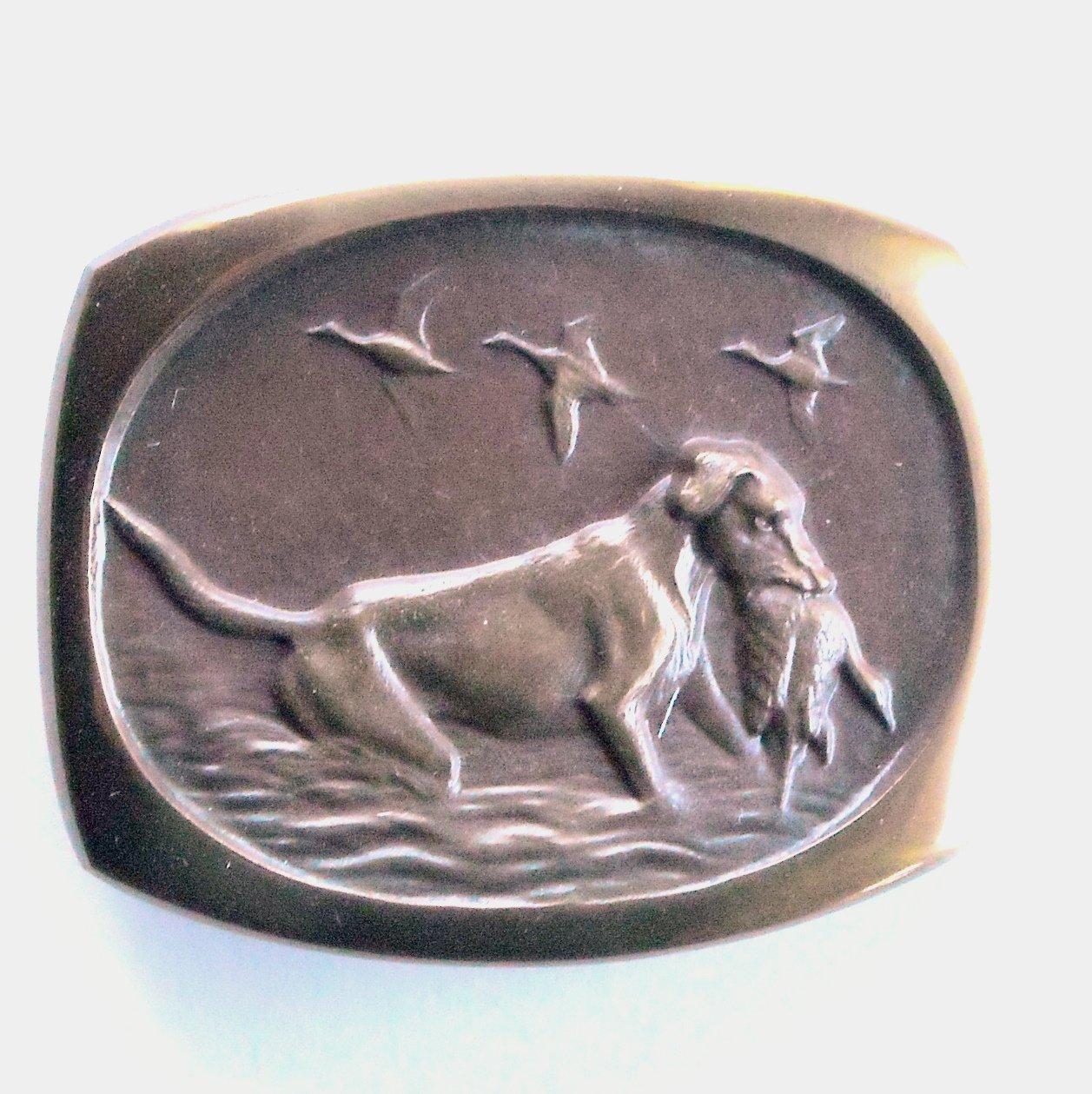 Retriever Steven L Knight 3D Solid Bronze Vintage Belt Buckle