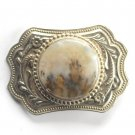 Vintage Round Stone Silver Color Belt Buckle