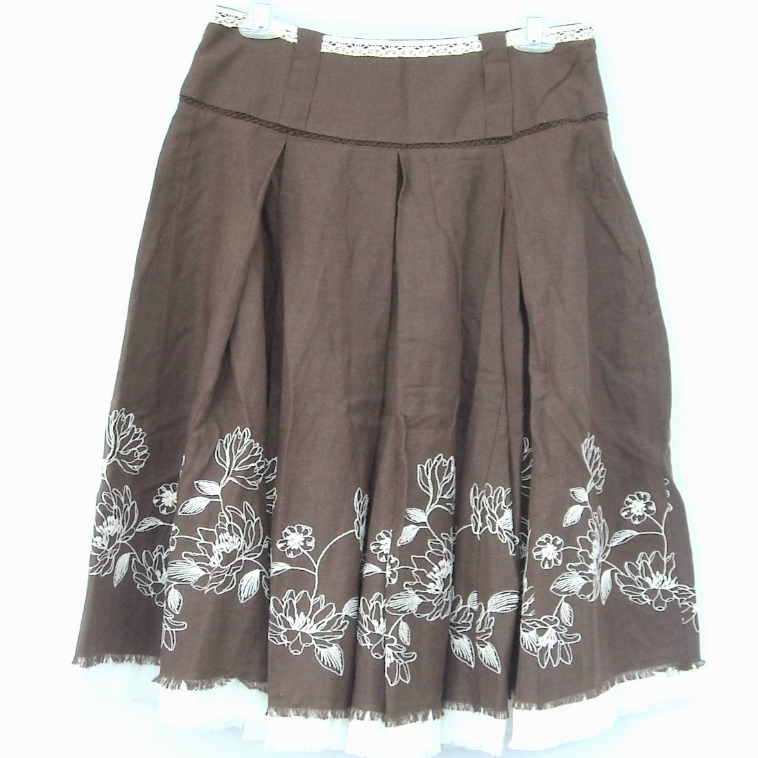 GNW Womens Brown Embroidered Skirt Size 10