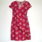 Eddie Bauer Linen Burgundy Red Wrap Dress Size 12