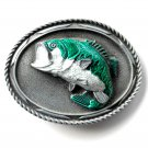 Large Mouth Bass 3D Mens Pewter Belt Buckle