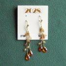 2028 Amber beaded pierced Gold tone earrings