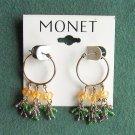 Monet beaded silver tone pierced earrings
