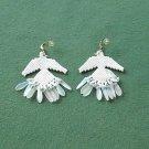 Vintage beaded white dove pierced earrings