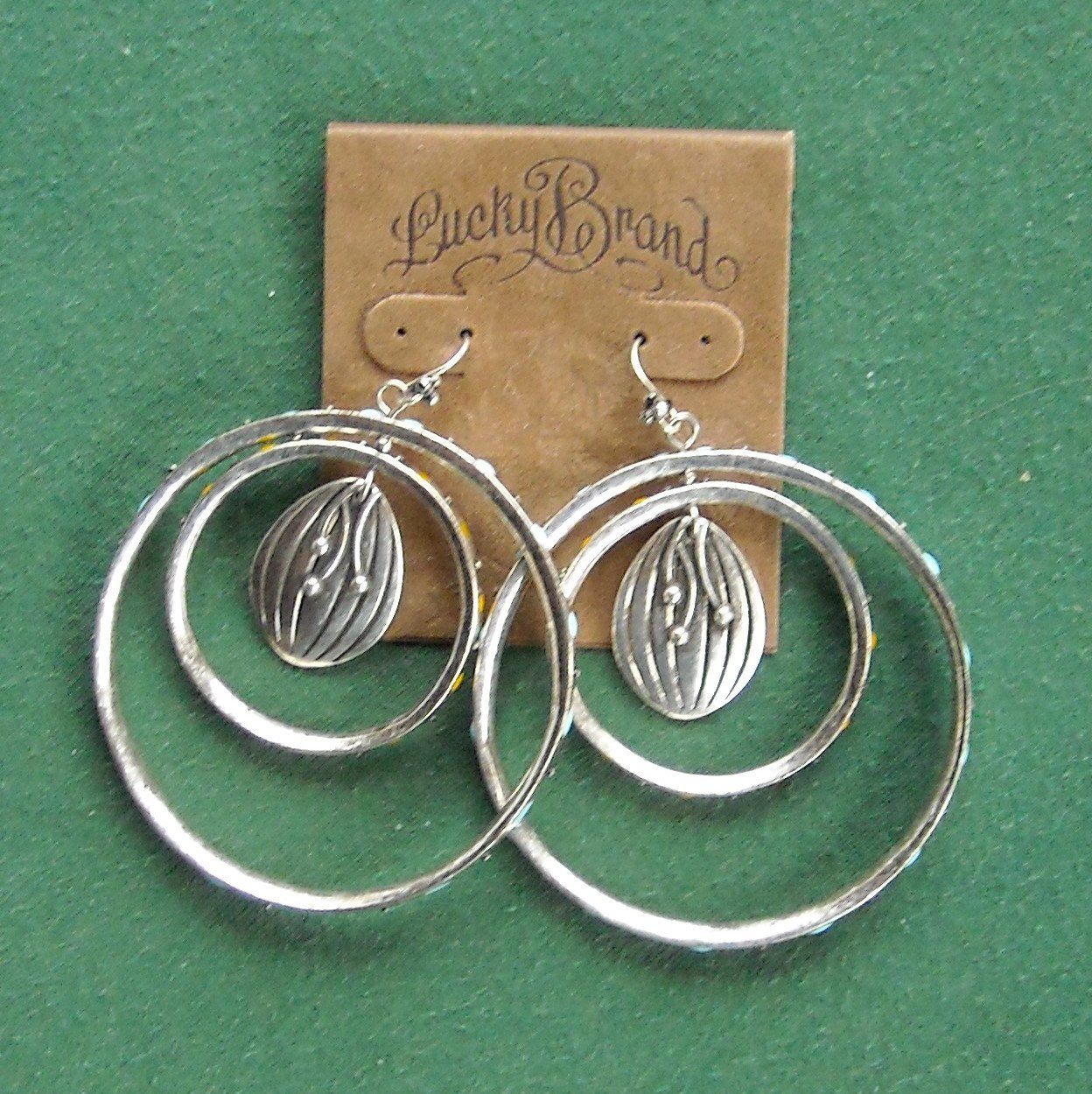 Lucky Brand Silver Tone Double Hoop Earrings NWT