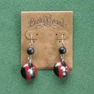 Lucky Brand Silver Tone Black Red Earrings NWT