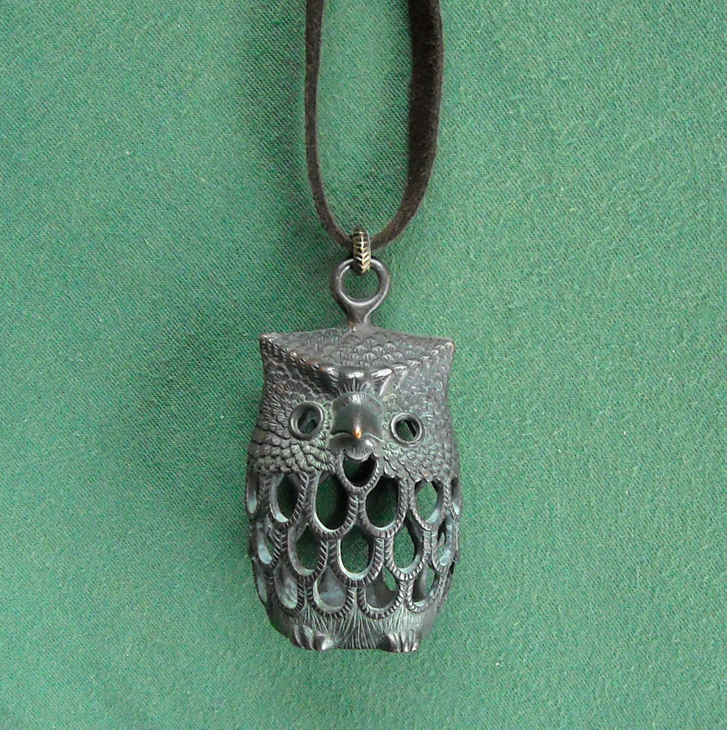 Lucky Brand Large Owl On Soft Suede Necklace NWT