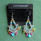 Catherines silver color rhinestone beaded pierced earrings