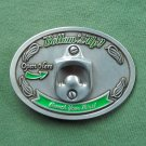 Open Here Bottoms Up Enamel Belt Buckle