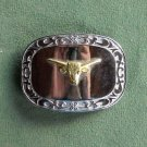 Western Long Horn silver colored belt buckle