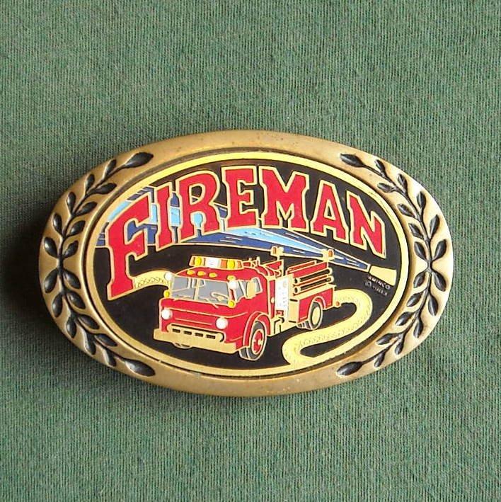 Vintage Heritage solid brass Fireman belt buckle