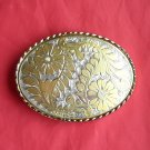 Gold and Silver Colored flower design metal belt buckle
