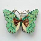 Vintage Cloisonne Butterfly Pastel Pewter Belt Buckle