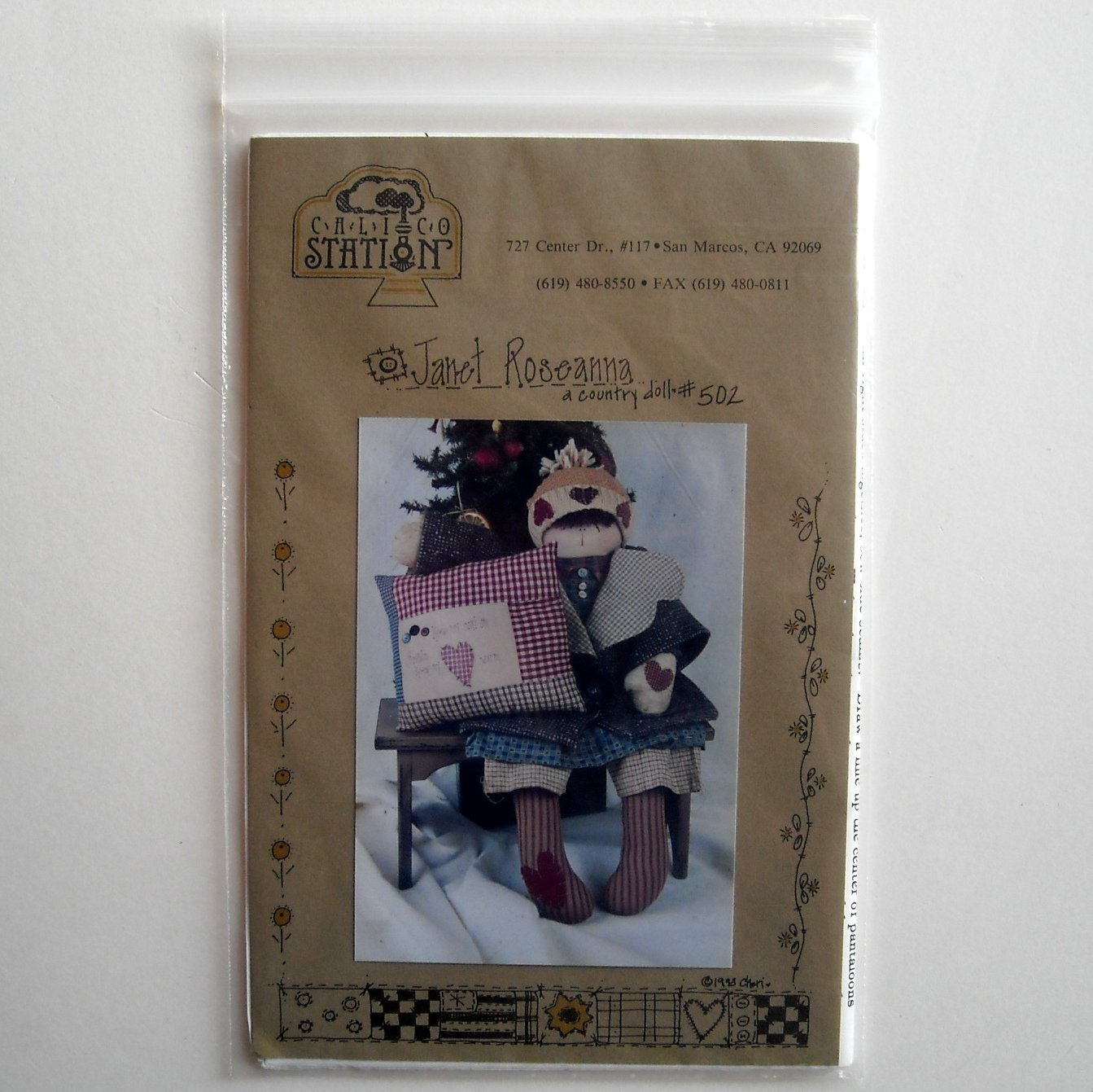 Calico Station Designs Janet Roseanna Country Doll Crafts Pattern No 502