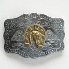 Vintage Horse Head Horseshoe Silver color metal alloy belt buckle