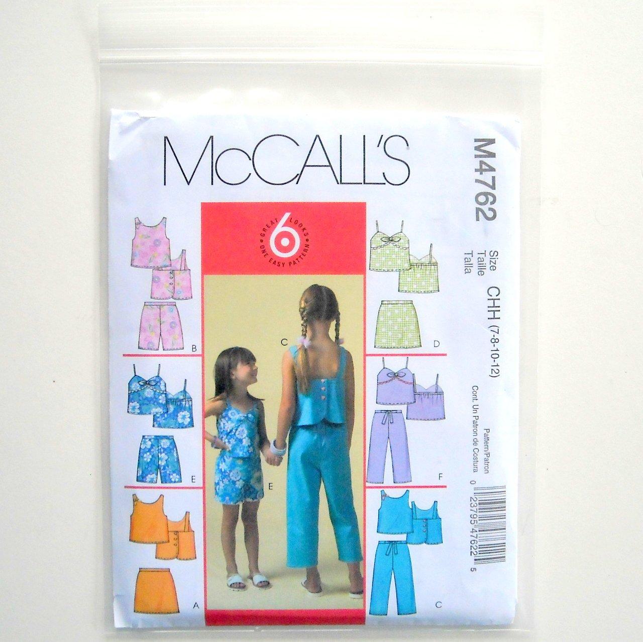 McCalls 6 Great Looks Girls Tops Skorts Shorts Capri Pants Size CHH 7 - 12 Sewing Pattern M4762