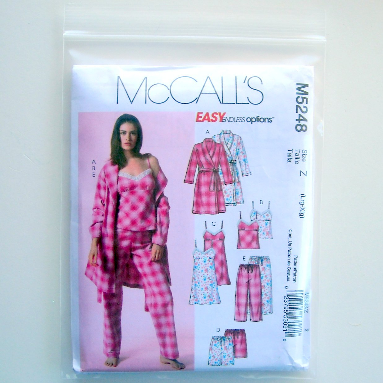 McCalls Easy Misses Robe Belt Top Nightgown Shorts Pants Size Z Lrg - Xlg Sewing Pattern M5248