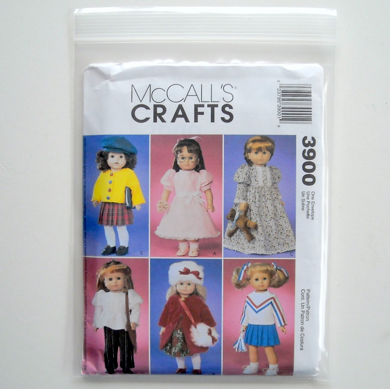 McCalls Crafts Doll Clothes For 18 inch Dolls Sewing Pattern M3900
