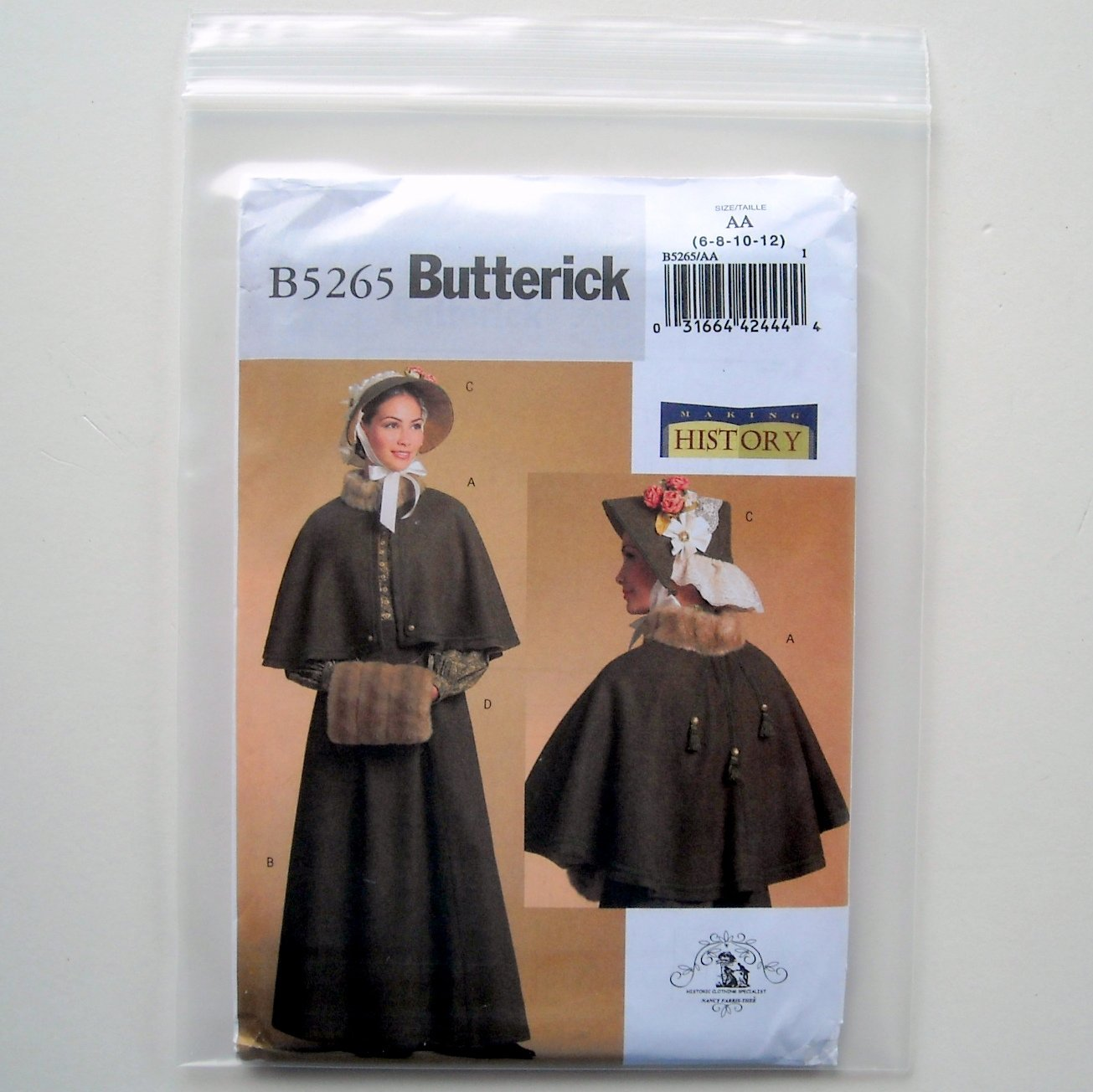 Butterick Misses Historical Costume Sewing Pattern Size AA 6 - 12 B5265
