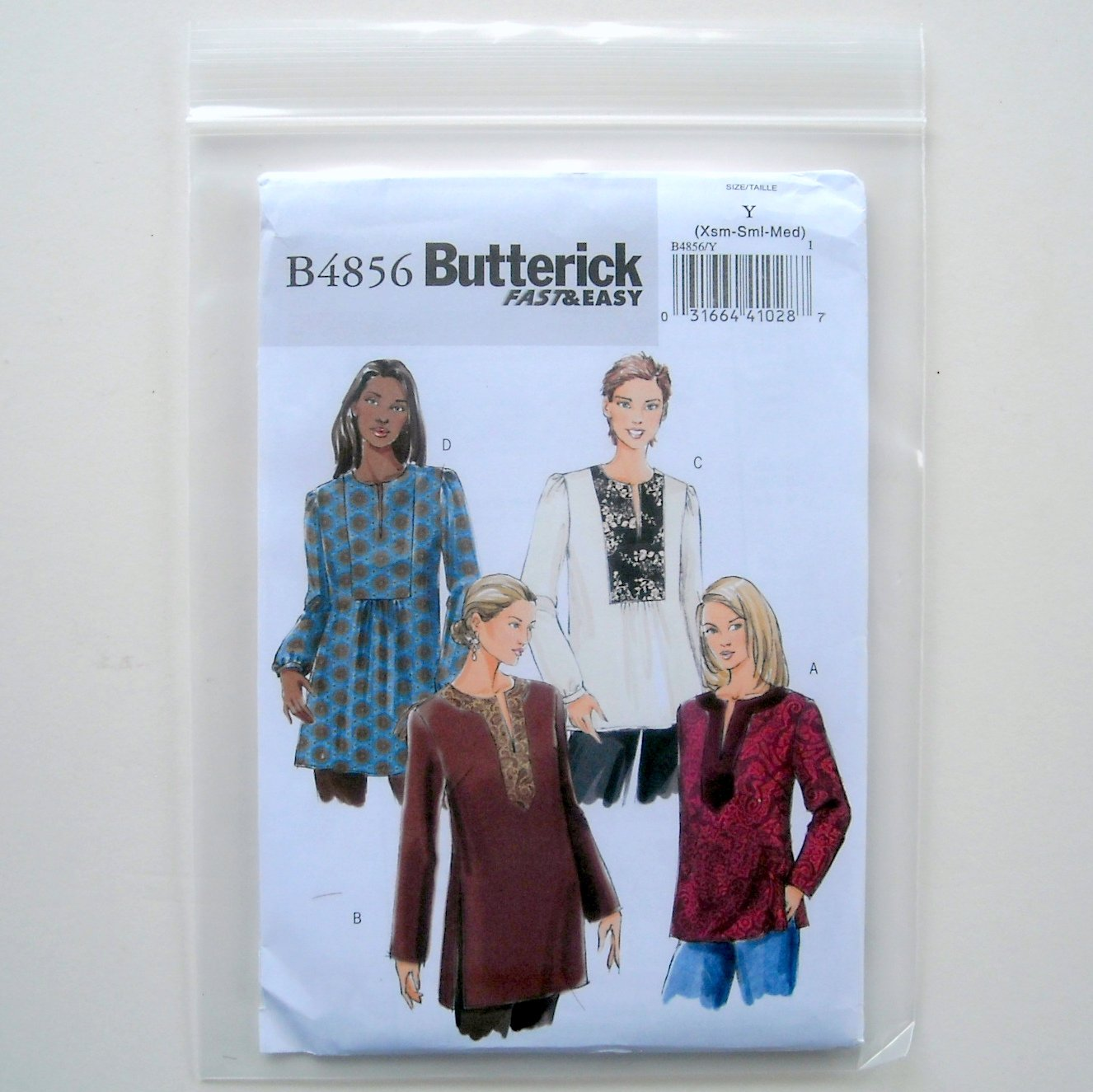 Butterick Misses Top Tunic Sewing Pattern Size Y Xsm Sml Med B4856