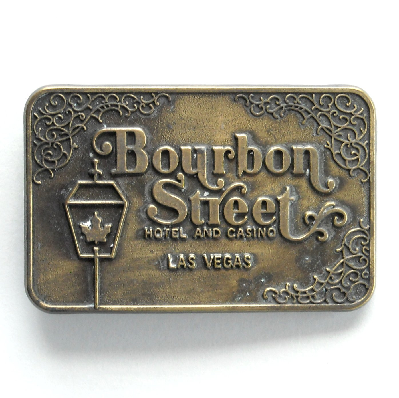 Bourbon Street Las Vegas Brass Color Metal Alloy Belt Buckle