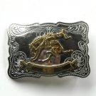 Bucking Horse Rodeo Vintage Nickel Silver Belt Buckle