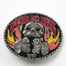 Biker Fear No Evil Silver Color Metal Alloy Belt Buckle