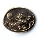 Western Eagle Gold Silver Color Metal Alloy belt buckle