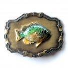 Bluegill Raintree Brass Color Metal 3D Belt Buckle