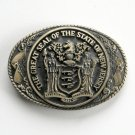 Great Seal State Of New Jersey Tony Lama Solid Brass Belt Buckle