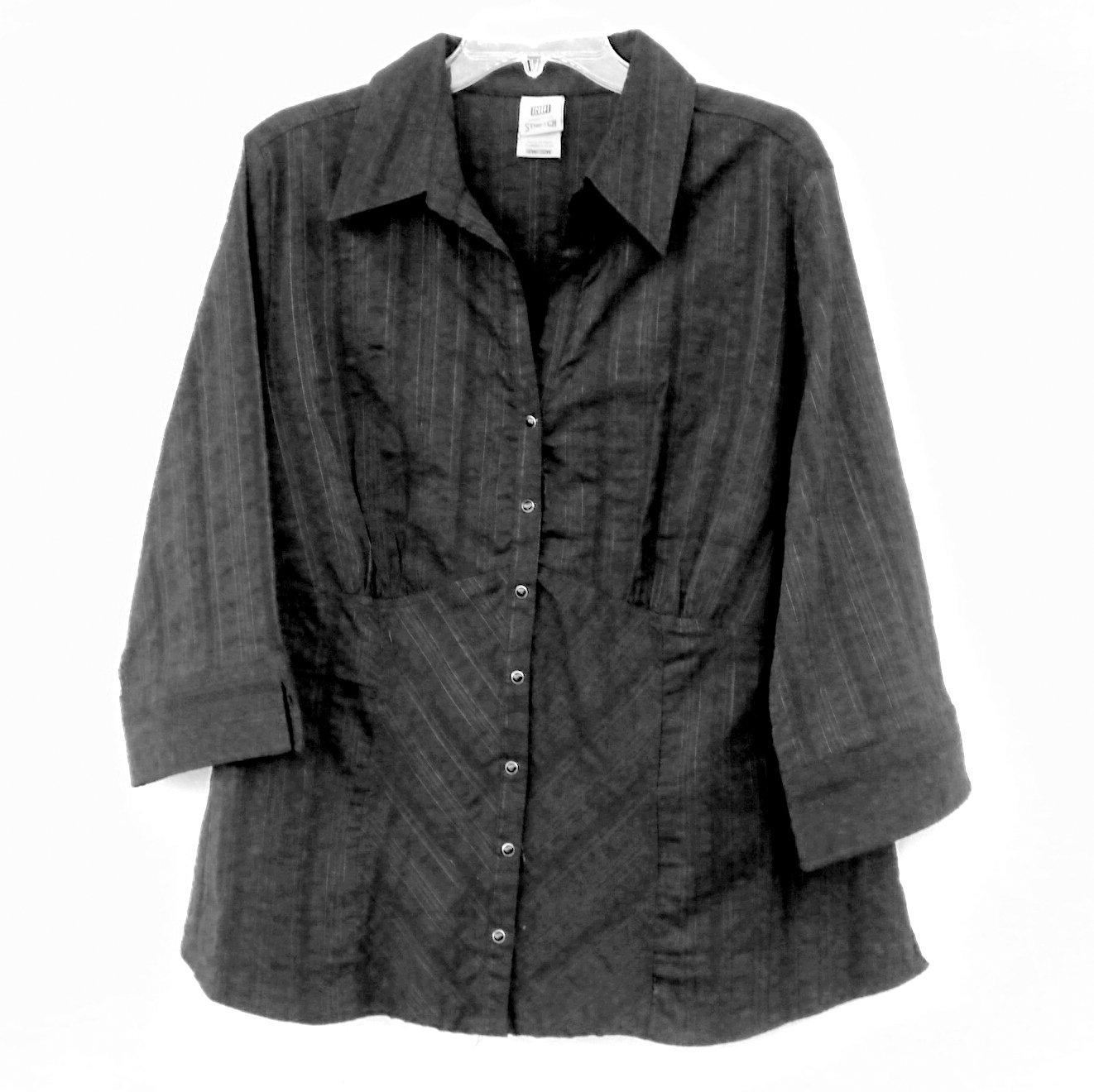 Faded Glory Womens Black 3/4 Sleeve Shirt Size 18W  20W Plus