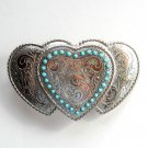 Triple Hearts Turquoise Silver Color Metal Alloy belt buckle