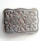 Vintage Western Heavy Ornate Silver Color Metal Alloy Belt Buckle