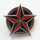 Star Circle Red Black Enamel Pewter Metal Alloy Great American Belt Buckle