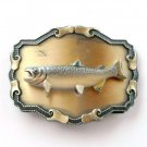 Trophy Salmon 3D Brass Color Raintree Belt Buckle