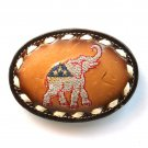 Republican Party Elephant Embroidered Tony Lama Leather Used Belt Buckle
