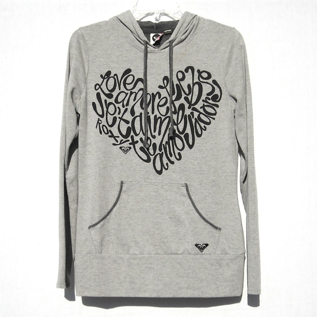 Love Roxy Misses Grey Pullover Hoodie Size M