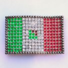 Colors Of Mexico Flag Rhinestone Silver Color Belt Buckle