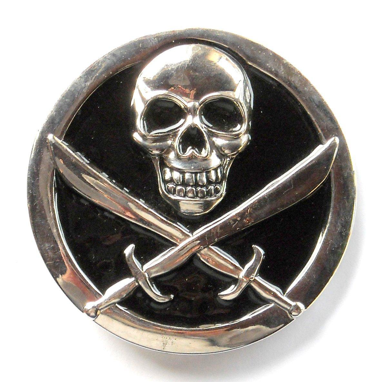 Pirate Skull Swords Metal Belt Buckle
