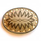 Brown Embroidered Tony Lama Beige Leather Used Belt Buckle
