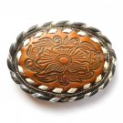 Tony Lama Tooled Brown Leather Silver Lacing Used Belt Buckle