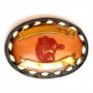 Red Bull Embroidered Tony Lama Brown Leather Used Belt Buckle