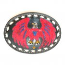 Red White Blue Eagle Embroidered Tony Lama Black Leather Used belt buckle