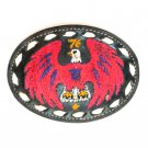 Eagle Red White Blue Embroidered Tony Lama Black Leather Used Belt Buckle