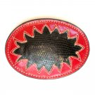 Vintage Snake Skin Tony Lama Cut Out Leather Belt Buckle