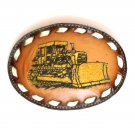 Vintage Cat Caterpillar Embroidered Tony Lama Brown Leather Belt Buckle