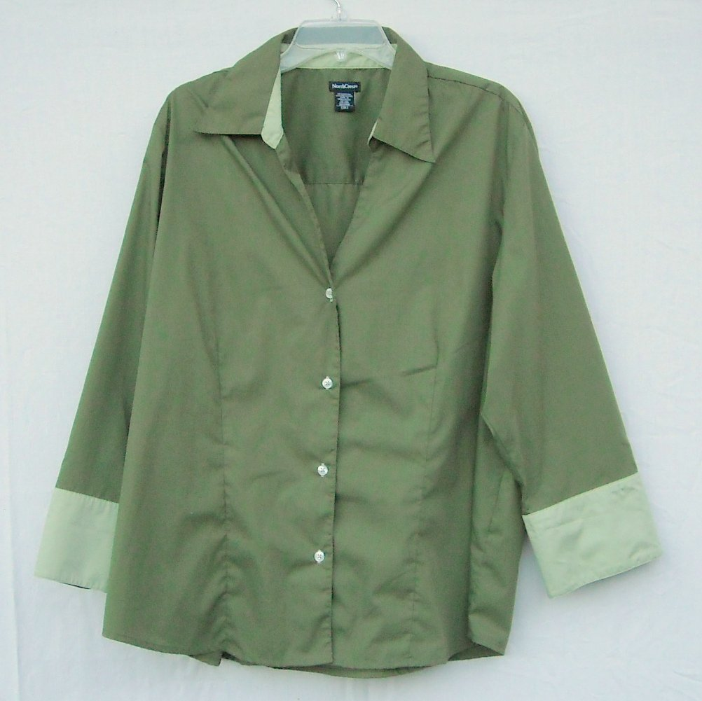 NorthCrest Womens Avocado Green Blouse Shirt Size 3X